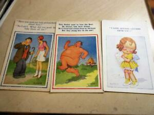 THREE VINTAGE 1940's Donald McGill SAUCY SEASIDE HUMOUR POSTCARDS!