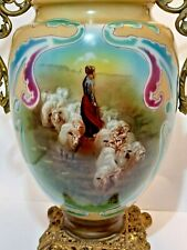 Antique Made in Portugal Hand Painted Original Oil Lamp With Shepard & His Sheep