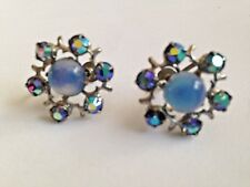 "VINTAGE 3/4"" CLUSTER SCREW BACK EARRINGS WITH AB & MOON STONE CENTERS"