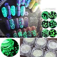 Luminous 3D Glitter Sequins Heart Star Moon Nail Art Decoration Glow In The Dark