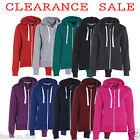 Womens Ladies Girls Plain Hoodies Sweatshirt Top Fleece Jacket Zip PLUS UK 8-26