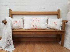CHARMING ANTIQUE STRIPPED PINE WELSH CHAPEL HALLWAY BENCH (2)