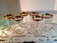 Set of 6- Tiffin Rambler Rose Gold Encrusted Ice Tea Glasses Footed Tumblers