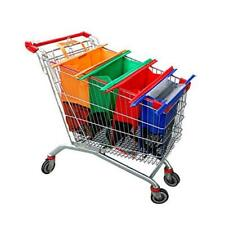 Trolley Bags-4 Pack Reusable Grocery Shopping cart Bags Orange,green,red,blue
