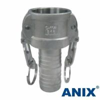 """1-1/4"""" inch CamLock Fitting Type C Female Coupler x Hose Barb Stainless Steel"""