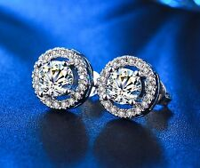 Cubic Zirconia CZ Halo Stud Earrings Platinum Over Sterling Silver Gift Box