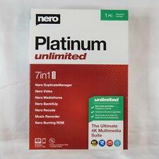 Nero Platinum 7in1 Unlimited 2020 Perpetual License 1 PC Factory-Sealed Retail