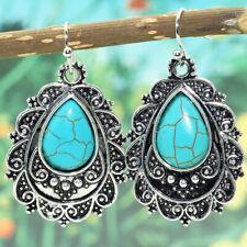 Boho Tibetan 925 Silver Turquoise Ear Dangle Drop Hook Earrings Women Jewelry