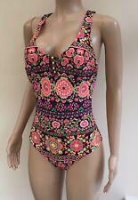 Neues AngebotNEU George schwarz pink Multi Floral Strappy Back Badeanzug Schwimmen Kostüm UK 10