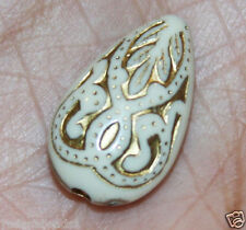 Bulk 200 of vintage Acrylic resin teardrop beads 18x11mm Cream with gold accent