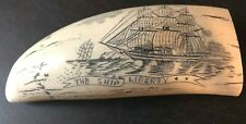 """SHIP LIBERTY"" fine details  historic Sperm whale tooth scrimshaw replica"