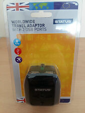 Worldwide Travel Adaptor Socket 2 USB Ports Europe USA Australia China UK