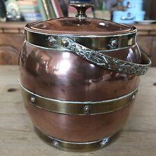 Vintage 1930's Linton England Copper Brass Barrel Ice Bucket Home Bar Man Cave