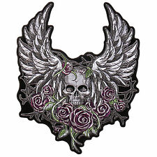 Skull Wings Flowers Jacket Vest Embroidered iron on 5 inch Patch
