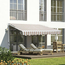 Outsunny 12' x 8' Retractable Patio Awning Sun Shade Outdoor Patio Beige