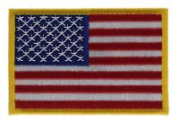 US American Flag Red White Blue Yellow 3 inch Cap Hat Embroidered Patch F2D10S