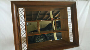 VINTAGE MID CENTURY FRAMED WALL SHELF MIRROR SHADOW BOX ILLINOIS MOULDING CO. !!