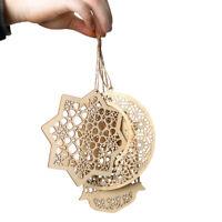 3pcs DIY Eid Ramadan Hanging Pendants Wooden Mubarak Hollow Ornament Home Deco
