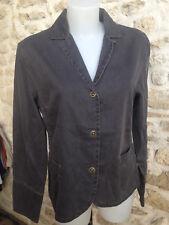 DOROTHENNIS veste coton noir gris fine rayure  manche longue Taille 42