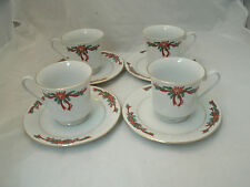Fine China POINSETTIA & RIBBONS 4 Tea Coffee Cup & Saucer Sets Christmas EC