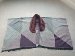 BRAND NEW ROMAN Purple and Grey Wrap / Poncho with Faux Fur Collar One Size