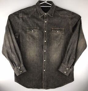 Structure Black Denim Pearl Snap Men's Western Style Long Sleeve Shirt Size L