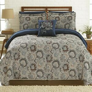 Twin Full Queen Cal King Bed Bag Blue Gray Grey Paisley Damask 8pc Comforter Set