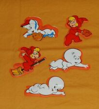 vintage Casper The Friendly Ghost + Wendy Magnetic Puffy Stickers Lot x5 (set B)