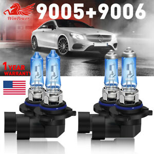 Combo 9005 + 9006 100w Halogen Xenon Headlight Light Bulb 6000K White Hi/Lo Beam