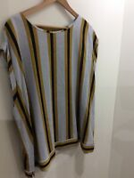 Bnwt Next Ladies Gold,grey And Black Striped Short Sleeve Top,size 22