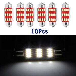 10Pcs x 41mm 4014 12SMD C5W LED Light  Festoon Dome Car License Plate Lamp