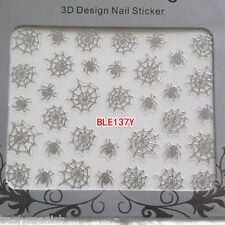 Halloween Nail Art Stickers Decals Decorations Metallic Silver Spiders webs