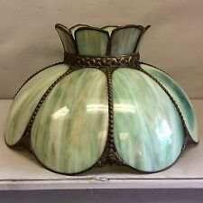 """Slag Glass Shade 8 Panel Green Curved 19"""""""