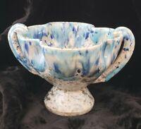 Vintage Mid Century 60s 70s Ceramic Splatter Drip Blue Glaze Candy Dish Italy