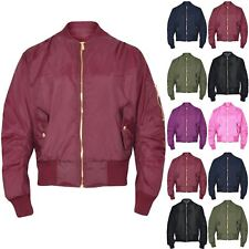 Girls Boys Kids Plain MA1 Quilted Front Button Pockets Zipped Up Bomber Jacket