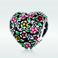 925 Sterling Silver Charm Bead Colorful Flower Pendant Jewelry For Girl Bracelet