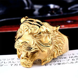Gothic Tiger Head Ring Stainless Steel Men's Animal Tiger Biker Ring Gold Plated