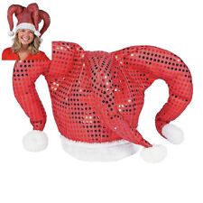 Jester Santa Hat - Red Sequin Shiny Plush Christmas Holiday Party Cap - NEW