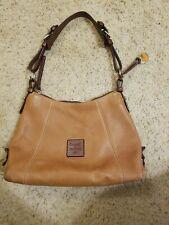DOONEY & BOURKE Small Tan Pebbled Leather Hobo Carryall Shoulder Purse Bag