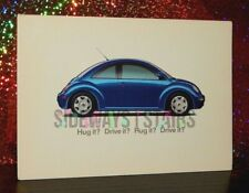 1998 BLUE VOLKSWAGEN NEW BEETLE POSTCARD rare vintage ad vw bug 97 98 1997 1999