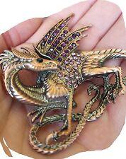 xxl steampunk brosche dragon drache gothic brooch drachen elfe strass valkyrie