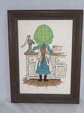Vtg Paint By Number PBN Girl In Bonnet Craft Master 1973 Mother's Little Helper