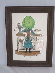 Vtg Paint By Number PBN Girl In Bonnet Craft Master 1973 Mother's Little Helper
