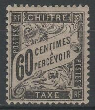 """FRANCE STAMP TIMBRE TAXE N° 21 """" TYPE DUVAL 60c NOIR """" NEUF x TB  N146"""