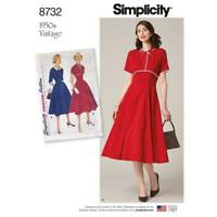 Simplicity Sewing Pattern 8732 Misses' Vintage Classic 1950s style dress 6 -14