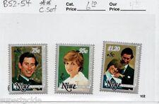 1981 Niue Sc# B52-54 Royal Wedding, Charles & Diana postage stamp set