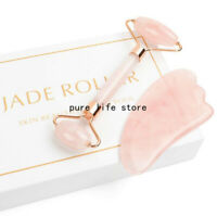 2x Natural Rose Quartz Stone GuaSha Massage Face Tool Gua Sha Board Body