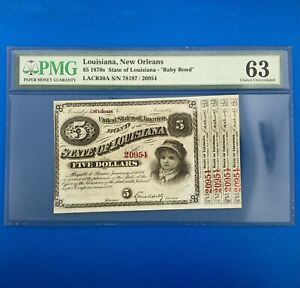 1870's $5 State Of Louisiana New Orleans Baby Bond PMG Choice Uncirculated 63