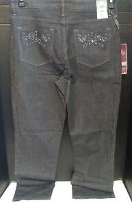 Lee Platinum Label Women's 14 Petite Straight Stretch Jeans~Graphite~NWT