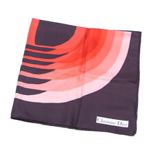 Dior scarf D mark Pink Red Brown Ladies Auth C3617
